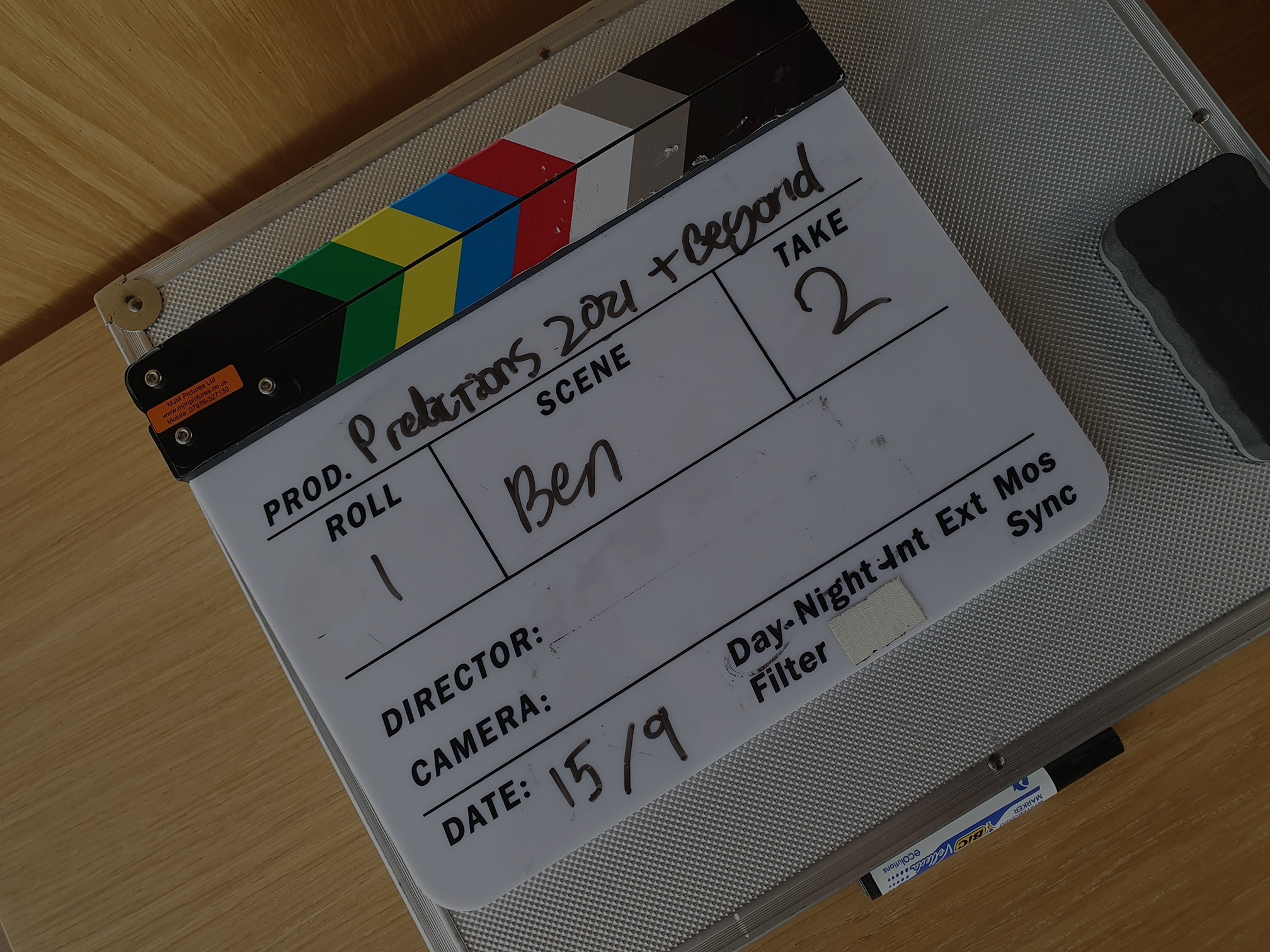 a clapperboard on a table