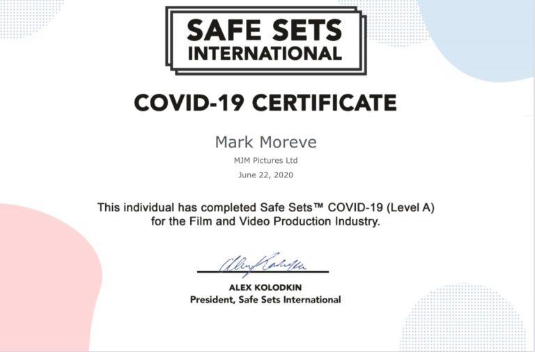 Safe Sets International COVID-19 Certificate for Mark Moreve