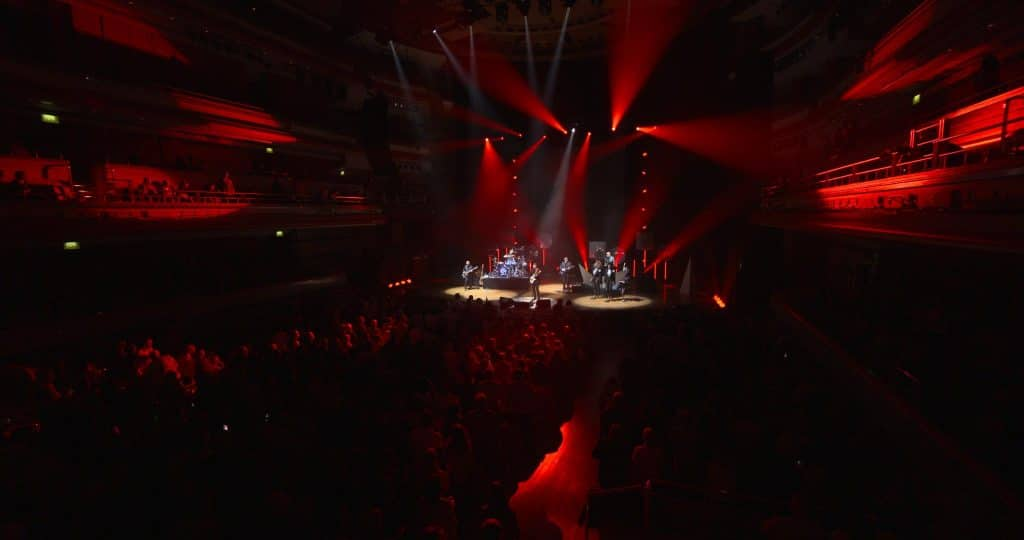 a wide shot of a stage with a band