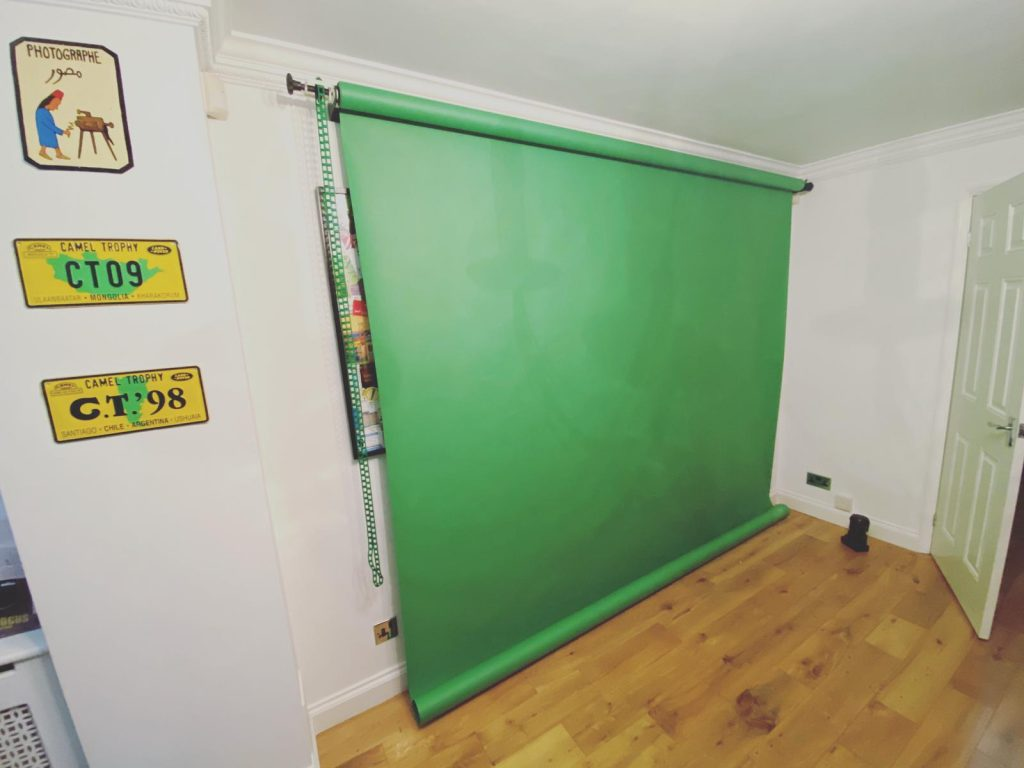 a green screen in a room