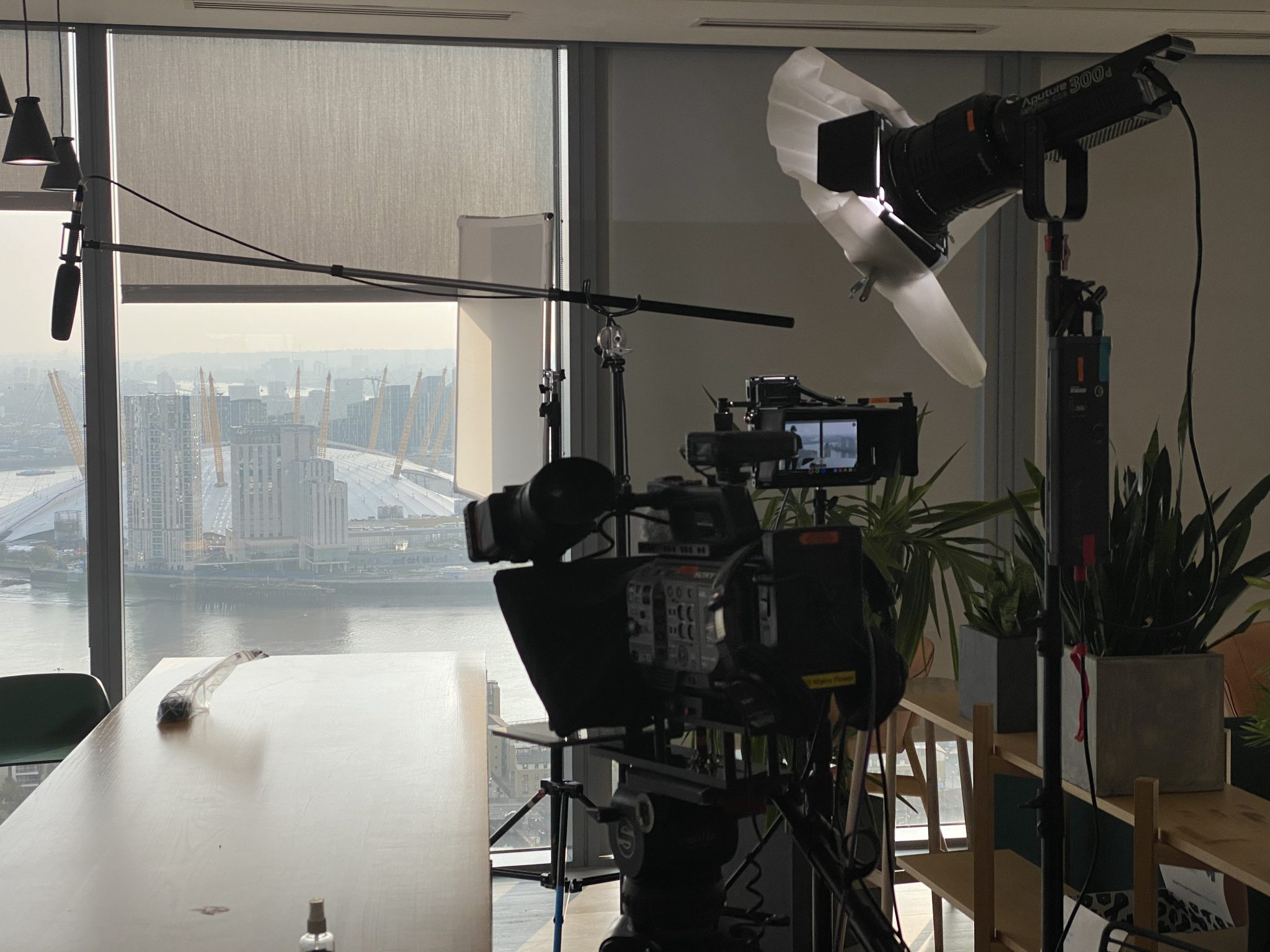 Filming a PTC overlooking the O2 arena in London