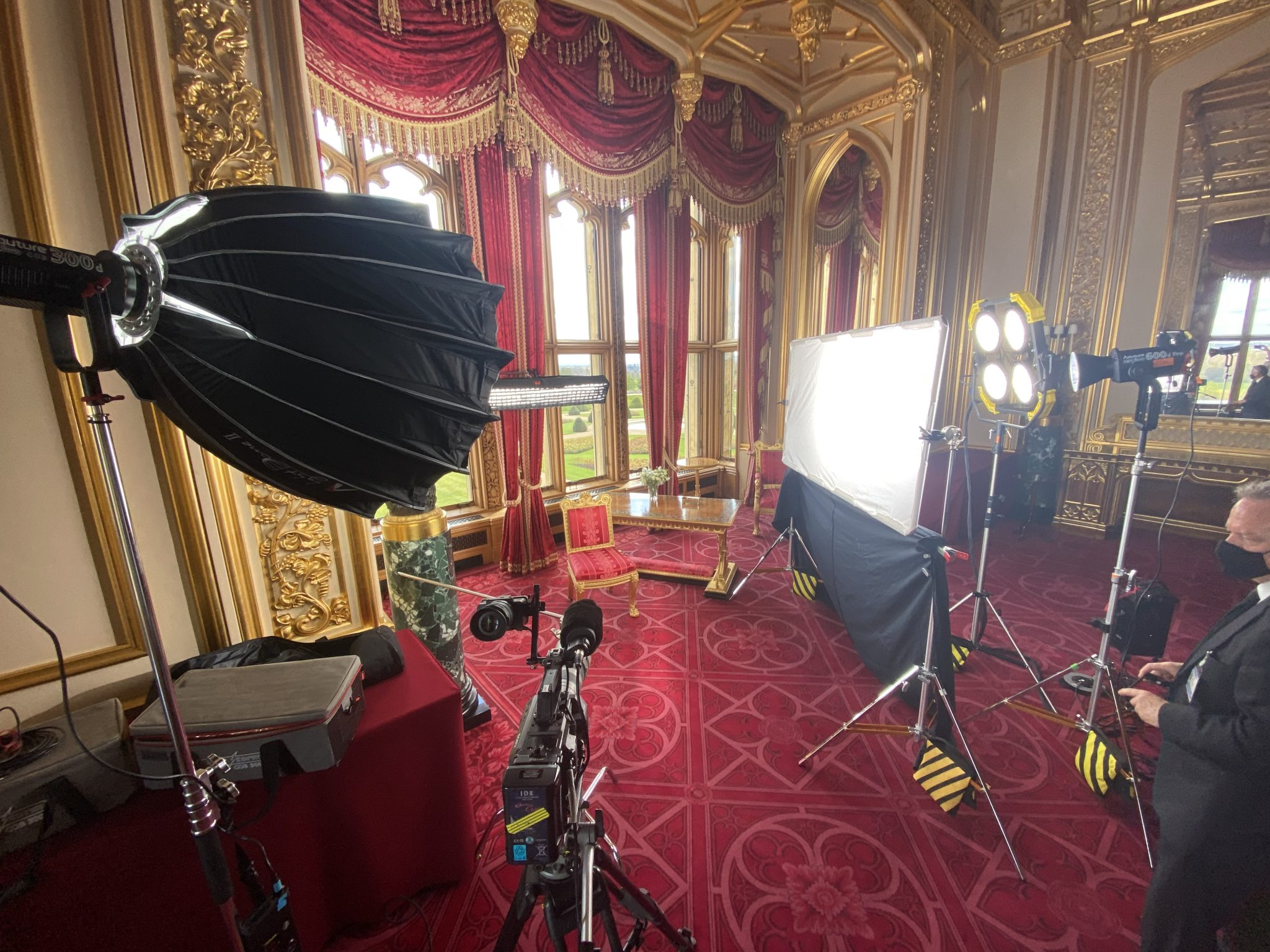 A Piece to camera in a castle