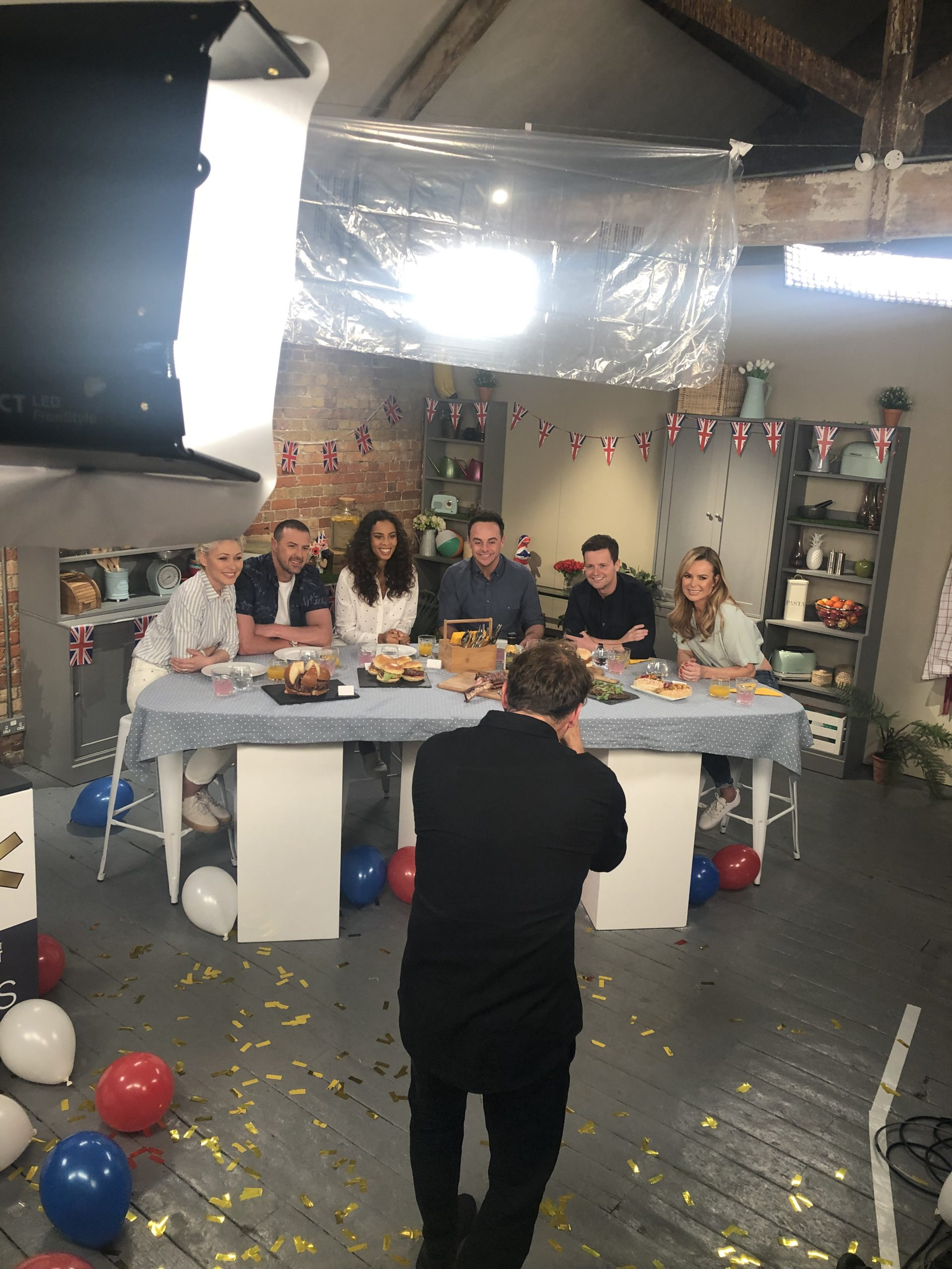 Emma Willis, Paddy McGuiness, Rochelle Humes, Ant & Dec, Amanda Holden on set
